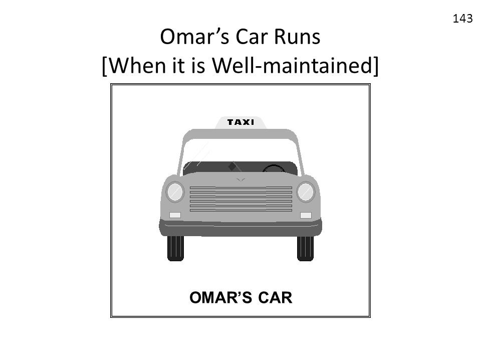 Omar's Car Runs [When it is Well-maintained]